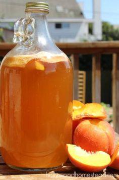 Recipe for Peach Kombucha! Benefits Of Kombucha Tea, Kombucha Flavors, How To Brew Kombucha, Probiotic Drinks, Flavored Kombucha Recipe, Kefir, Yummy Drinks, Healthy Drinks, Chow Chow