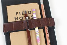 Leather Journal Pen band holder / pencil by SiroganeLeatherWorks