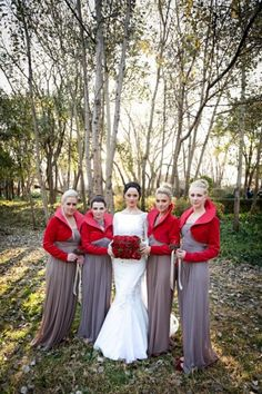 bridesmaids with winter scarfs - Google Search