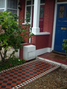 A black and white tile installation form Palace Victorian tiling services Front Garden Path, Front Path, Front Door Steps, Front Doors, Garden Paths, Victorian Front Garden, Victorian House, Victorian Tiles, Outdoor Flooring