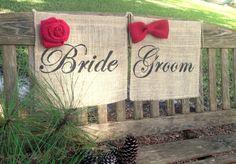 CHRISTMAS Wedding Chair Signs  Bride Groom by LollysCubbyHole