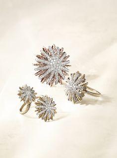 Starburst rings with diamonds.