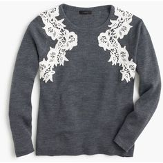 J.Crew Lace Appliqué Sweater ($170) ❤ liked on Polyvore featuring tops, sweaters, j.crew, lace sweater, j crew top, lacy tops, lacy sweater and j crew sweaters