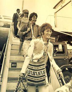 Beatles John Lennon, Paul McCartney and Paul's girlfriend actress Jane Asher, circa 1967