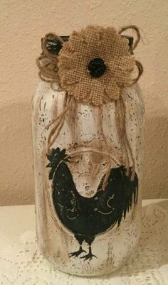 Rooster Decor Country Home Rooster Lover Housewarming Gift Prim Rooster Jar Country Kitchen Burlap Decor Wine Jug Crafts, Jar Crafts, Mason Jar Art, Mason Jar Gifts, Mason Jar Burlap, Mason Jar Projects, Diy Projects, Rooster Decor, Painted Mason Jars