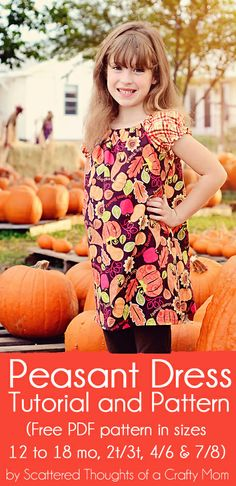 Use this tutorial and free printable pdf pattern to learn how to make a simple peasant dress.  (Pattern now available in sizes 12 months to 8.)