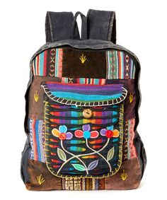 Look what I found on #zulily! Brown & Rainbow Floral-Embroidered Backpack #zulilyfinds