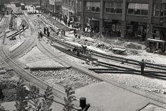 Rok 1951: Prestavba Stalinovho námestia v Bratislave Bratislava, Old Street, Railroad Tracks, Squares, Street View, Bobs, Train Tracks