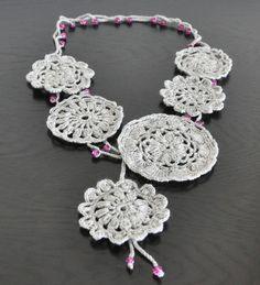 Beads and Lace  Grey  Crochet Lace Bib Necklace by jennysunny, $16.00