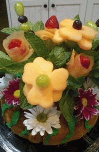 """Ring Around the Posies"" edible Mother's Day centerpiece! Bundt cake with fruit flowers and mint in the middle (""how to"" in my blog) Enjoy for any ""girly"" brunch! :)"