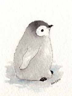 Penguin Chick ACEO original ink/watercolour by wildsunart on Etsy