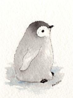Penguin Chick - ACEO original ink/watercolour