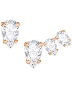 Swarovski Rose Gold-Tone Set of 3 Crystal Mismatch Stud Earrings