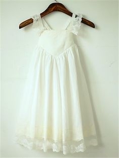 A-Line Tea Length Flower Girl Dress - Cotton Lace Sleeveless Straps with Pleats by thstylee Princess Flower Girl Dresses, Cheap Flower Girl Dresses, Cheap Prom Dresses, Chiffon Flowers, Chiffon Ruffle, Chiffon Dress, Inexpensive Wedding Dresses, Affordable Bridesmaid Dresses, Girls Dresses Online