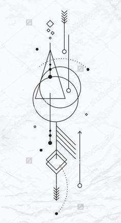 Wandgestaltung - Famous Last Words Geometric Tattoo Design, Geometric Designs, Henna Designs, Geometric Shapes, Tattoo Designs, Geometric Arrow Tattoo, Tattoo Ideas, Simbolos Tattoo, Tattoo Drawings