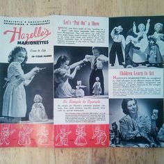 Cover of 1947/48 Hazelle's Marionettes product brochure arrived with the puppets that came in the mail today. This is a brochure that has never been published in any books on puppet collecting that I have seen.