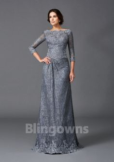Square V-back 3/4 Sleeves Gray A-line Ruched Lace Floor Length Mother Of The Bride Dresses