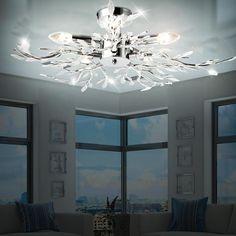 Decken Pendel Lampe Wohnzimmer Äste Hänge Beleuchtung Blätter Weiß Flur Leuchte