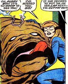 Jack Kirby THe Inhumans Crystal & Lockjaw Marvel Characters, Marvel Heroes, Marvel Comics, Comic Superheroes, Comic Book Artists, Comic Artist, Comic Books Art, Bruce Timm, Gi Joe