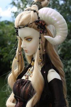 beautiful bjd art doll with ram horns