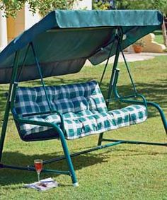 Tubular 3 Seater Garden Swing Chair with Cushion - Green.