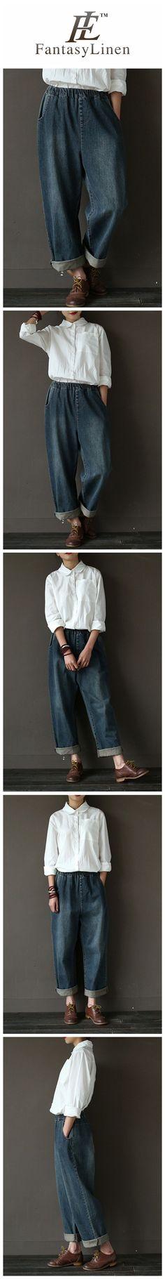 Vintage Cowboy Jeans Pants Women Trousers  P8912