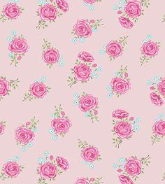 Papel de parede com fundo rosa claro, flores em tons rosa e azul, e folhas em tons verdes - Rose 09