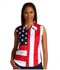 Scully - Sleeveless Patriot Shirt (Red) Women's Clothing