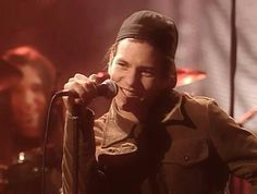 """On """"Oceans"""": """"A little lovesong I wrote about my surf board."""" *And smiles like that. :)  For some strange reason, young Eddie Vedder's face gives me comfort. So personable and genuinely sincere. (MTV Unplugged, 1992) ~Anny"""
