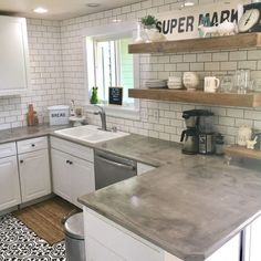 Supreme Kitchen Remodeling Choosing Your New Kitchen Countertops Ideas. Mind Blowing Kitchen Remodeling Choosing Your New Kitchen Countertops Ideas. Cheap Kitchen Countertops, Kitchen Tiles, Kitchen Colors, Kitchen Flooring, Kitchen Decor, Kitchen Sink, Kitchen Wood, Concrete Kitchen Countertops, Kitchen Shelves