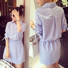 2015 summer new youth fashion design vertical stripes slim belted shirt dress _ {categoryName} - AliExpress Mobile Simple Dresses, Cute Dresses, Casual Dresses, Casual Outfits, Midi Dresses, Hijab Fashion, Diy Fashion, Fashion Dresses, Fashion Design