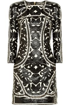 BALMAIN  Embellished black and white leather and suede dress...the lacing and details on this dress are insane, such an interesting piece.