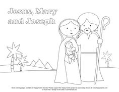 Happy Saints: Free Coloring Page of the Holy Family - Jesus, Mary and Joseph