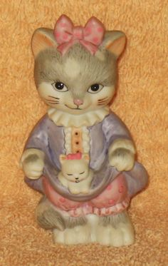 Cute Vintage Bronson cat with kitten figure by Catloversdream on Etsy