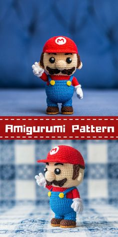 "Crochet Pattern of Mario from ""Super Mario Bros."" (Amigurumi tutorial PDF file - instant download) 