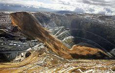 A massive landslide inside a quarry.