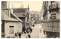 Vintage Paris Postcard - Street Life in Old Montmartre Old Paris, Vintage Paris, Romantic Paris, Montmartre Paris, Rue, Vintage Postcards, Wonderful Places, Paris Skyline, Taj Mahal