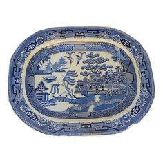 Mid Victorian ironstone meat serving platter in a blue willow transfer design. Made in England.