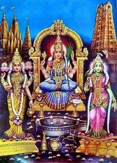 Tamil new year day... Have darshan of three very popular forms of Mother Goddess: Kanchi Kamakshi Madhurai Meenakshi Kashi Vishalakshi