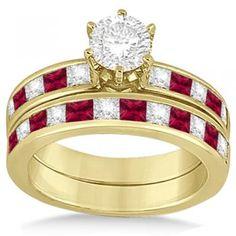 Channel Ruby & Diamond Bridal Set 14k Yellow Gold (1.30ct) - Allurez.com