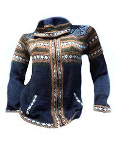 Blaue Damen Kapuzen #Strickjacke #Alpakawolle verziert mit Ornamenten