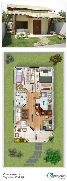 Projeto de casa térrea, com 2 quartos, 1 banheiro não conjugado, sala de estar com cozinha americana,tudo isso em uma casa pequena e charmosa, para terrenos.