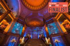 BizBash Names Got Light as 2015 Finalist for Best Event Lighting Design. San Francisco Opera Ball 2014 - Magically Illuminated by Got Light. San Francisco City Hall. Winged Lions. Blue. Stars. Video Projection.