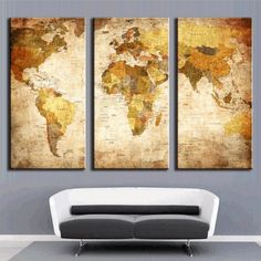Trademark art urban watercolor world map matted framed art by 3 panel retro world map canvas wall art gumiabroncs Gallery