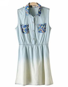 Indressme | Floral denim sleeveless dress style 2356 only $32.96 .