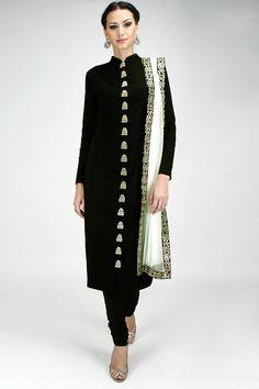 Black zardosi embroidered straight kurta set