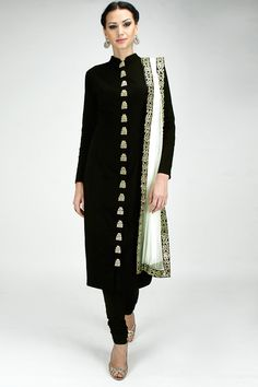 Black zardosi embroidered straight kurta set