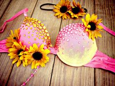 Sunflower Sunset Rave Bra by TheLoveShackk on Etsy