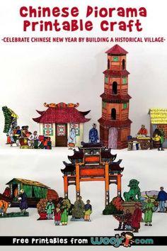 china crafts Chinese village Diorama Printable Craft for kids! Chinese New Year Crafts For Kids, Chinese New Year Activities, Chinese Crafts, New Years Activities, Activities For Kids, Literacy Activities, China For Kids, Chinese Celebrations, Chinese Pagoda