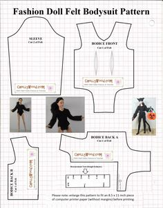 Image shows a pattern for a bodysuit or swimsuit to fit 11.5 inch fashion dolls like Barbie, Momoko, and Liv dolls. It includes long sleeves for the bodysuit. Each pattern piece is to be cut from felt. The doll is also seen wearing the bodysuit as part of a cat Halloween costume or as a gymnast or yoga instructor. The doll modeling the bodysuit is Mattel's Made-to-Move Barbie®